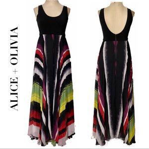 Alice+Olivia Colbie Pleated Multicolor Tank Dress